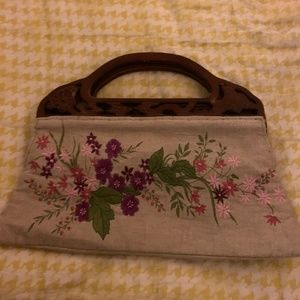 Tweed floral stiched clutch bad with wooden handle